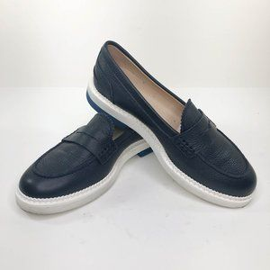 Tods Navy Platform Penny Loafers Womens